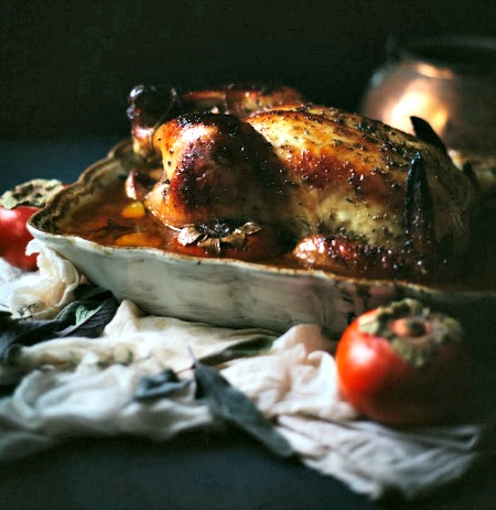 Roast Chicken with Persimmons & Sage